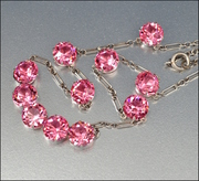 Sterling Silver Pink Crystal Art Deco Necklace Open Back