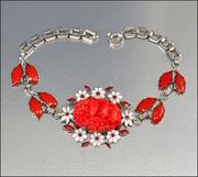 Enamel Coral Glass Silver Art Deco Bracelet