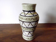Vintage Midcentury Italian Art Pottery Vase Green, Brown, Yellow, Lava Glaze