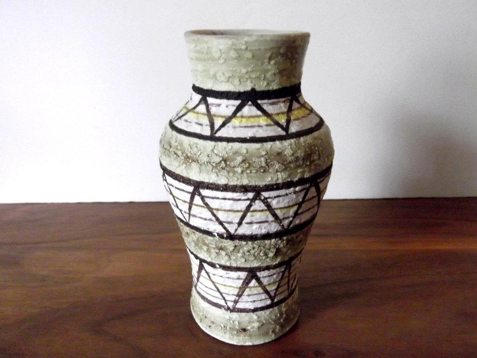 Vintage Midcentury Italian Art Pottery Vase Green, Brown, Yellow, Lava Glaze