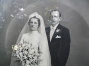 Antique Framed Wedding Photo, Very Large
