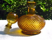 Amber Blown Glass with Topper pointed hobnail decoration