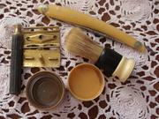 Lot of 4 vintage shaving items shaver, straight edge razor, brush, soap box