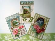 3 Victorian Floral Postcards