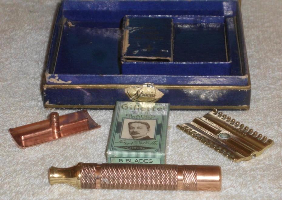 1940 Gillette NEW Blue Gold Special Set (34)