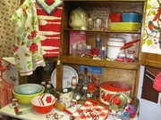 Vintage Hoosier Cabinet Filled with Kitchen Items