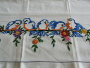 Vintage Embroidered Single Blue Birds Pillowcase