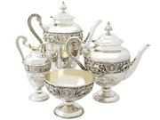Victorian Sterling Silver Four Piece Tea and Coffee Service