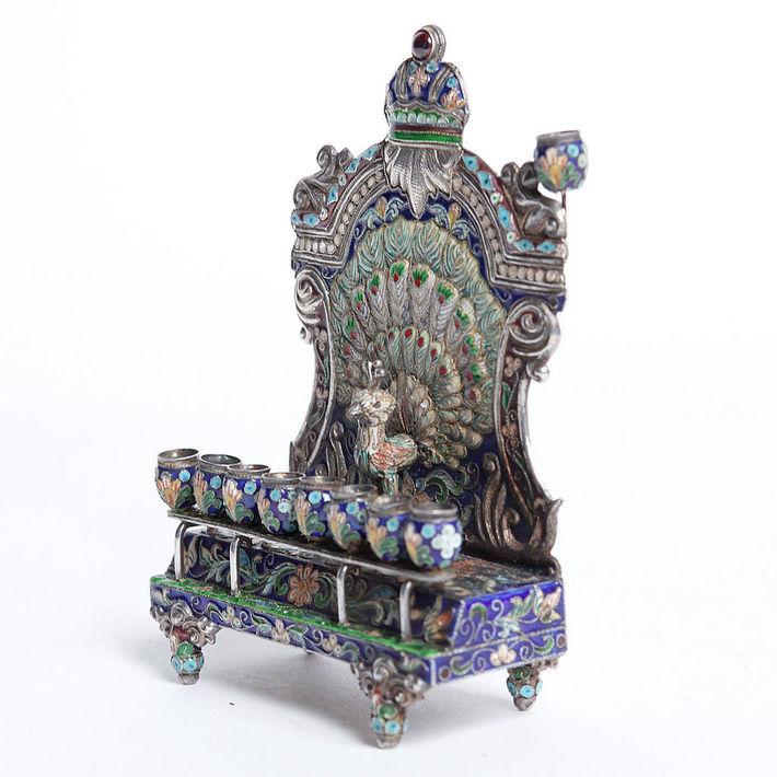 Russian Empire Antique Silver enameled Hanukkah menorah circa 1894