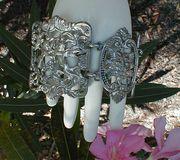Coro Cherubs and Cats Openwork Link Bracelet, Silverplated