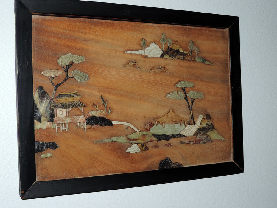 Japanese wood carved scenes of Ivory