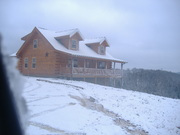 log home in snow