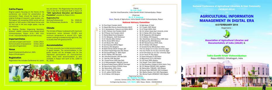 Indira Gandhi Krishi Front - Broucher