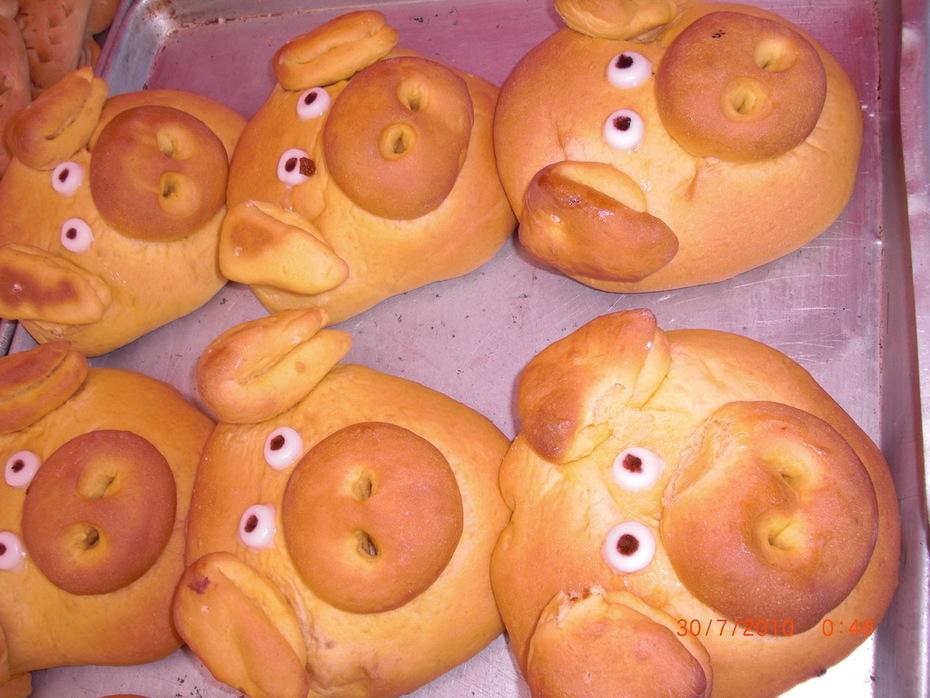 pan con forma de cochinito