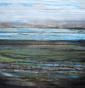 Beach debris coaldust seaweed &driftwood Northumberland 1