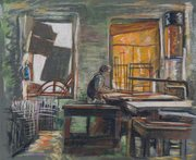 Donald Evans Wireworker Pastel on Glasspaper