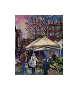 SPANISH MARKET,PICCADILLY, MANCHESTER  PASTEL ON GLASSPAPER 140mm x 195mm