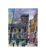 ST. ANNE'S SQUARE , MANCHESTER PASTEL ON GLASSPAPER  200mm x 250mm