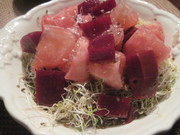 grapefruit, beet, and alfalfa sprout salad