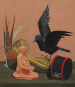 Still Life with a Sculpture and Crow