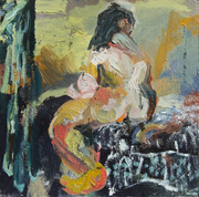 "Bather, 12x12"", oil on panel"