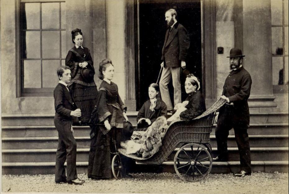 British albumen with mother in a bath chair. c.1865