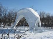 snow on the catenary gazebo