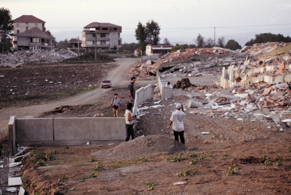 Destroyed apartments along earthquake fault