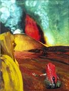 Pfeilgiftfrosch vor Vulkan