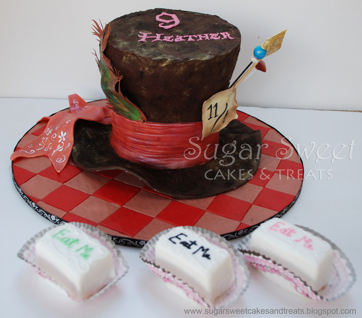 Mad Hatter Hat Cake and Eat Me Petits Fours