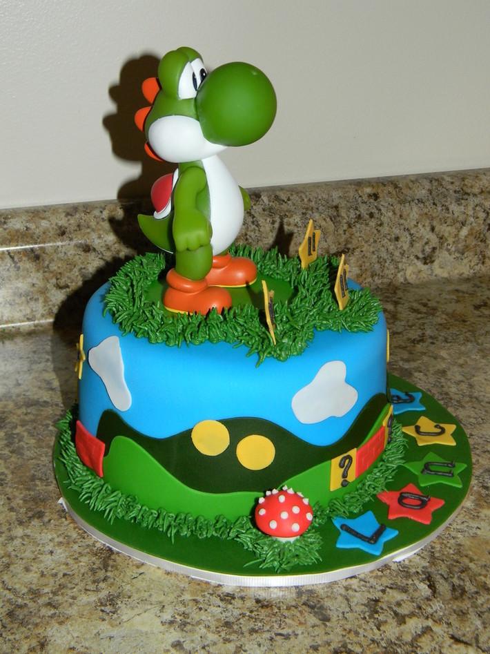 Astounding Yoshi Birthday Cake Cake Decorating Community Cakes We Bake Funny Birthday Cards Online Necthendildamsfinfo