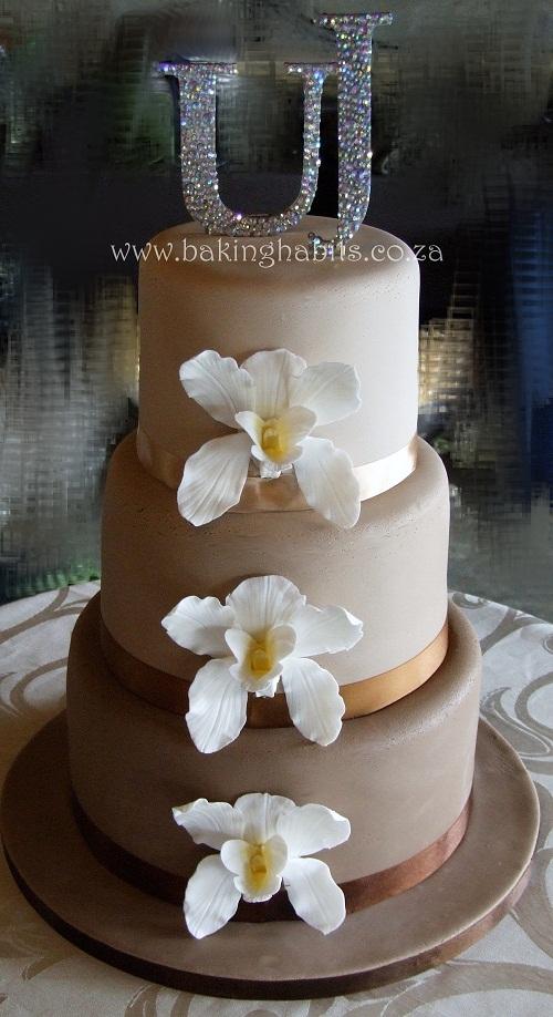 Earthy Mocha Orchid Wedding Cake