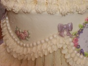 Close up of the ruffling and flowers from molds