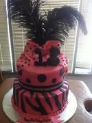 Hot pink and Black birthday cake