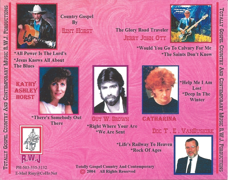 CD Totally Gospel Volume I Riny Horst & Guests Back Cover