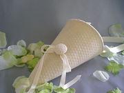 Handwoven lace petal cone