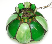 ART DECO TIFFANY STYLE STAINED GLASS HANGING LAMP