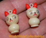 Vintage Celluloid Rolly Polly Eyed Cat Charms