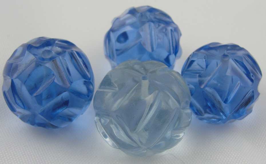 Large Molded Glass Vintage Beads