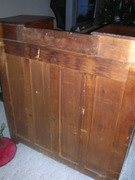 back side of walnut dresser