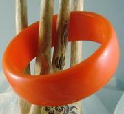 Orange Bakelite Bangle Vintage Bracelet