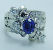 Royal 14K Gold Sapphire Old Miner Diamond Band Ring