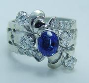 Royal 14K Gold Sapphire Old Miner Diamond Band Ring