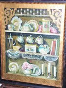FOLK ART/COUNTRY OIL ON CANVAS,DISHES IN RUSTIC FRAME