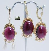 Vintage 14K Gold Rubellite Tourmaline Earrings Pendant Set