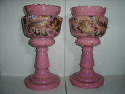 """GREAT PAIR OF ENGLISH VICTORIAN BRISTOL VASES, [LUSTERS] 14""""TALL"""