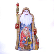 """Collectible Wooden Carved and Painted Santa Figurine 11.8"""""""
