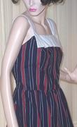 "Vintage 1970's Summer Sun Dress ""Dash About"" Navy Red & White"