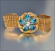 Gold Rhinestone Turquoise Bookchain Art Deco Bracelet