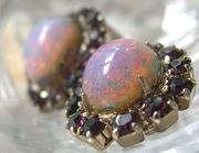 Edwardian Amethysts and Opal Glass Clip Back Earrings